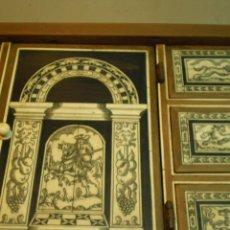 Antigüedades: REPLICA BARGUEÑO CAZA NOGAL Y HUESO GRABADO ESTILO ITALIANO S.XVIII FILETEADO HUESO - MADERA VIEJA. Lote 30533516