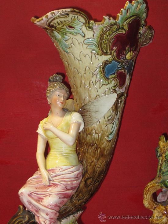 Antigüedades: ESPECTACULAR CENTRO MODERNISTA PORCELANA MAYOLICA CERAMICA ESMALTE ART NOUVEAU - Foto 4 - 30540710