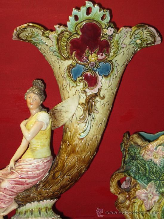 Antigüedades: ESPECTACULAR CENTRO MODERNISTA PORCELANA MAYOLICA CERAMICA ESMALTE ART NOUVEAU - Foto 5 - 30540710