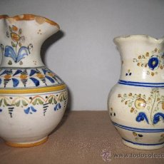 Antigüedades: LOTE DE DOS JARRAS ANTIGUAS DE CERAMICA PINTADAS Y VIDRIADAS, DE TALAVERA DE LA REINA.. Lote 30568351