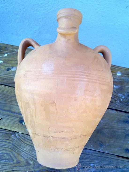 Antigüedades: precioso cantaro o botija de agua de barro. - Foto 3 - 30592422