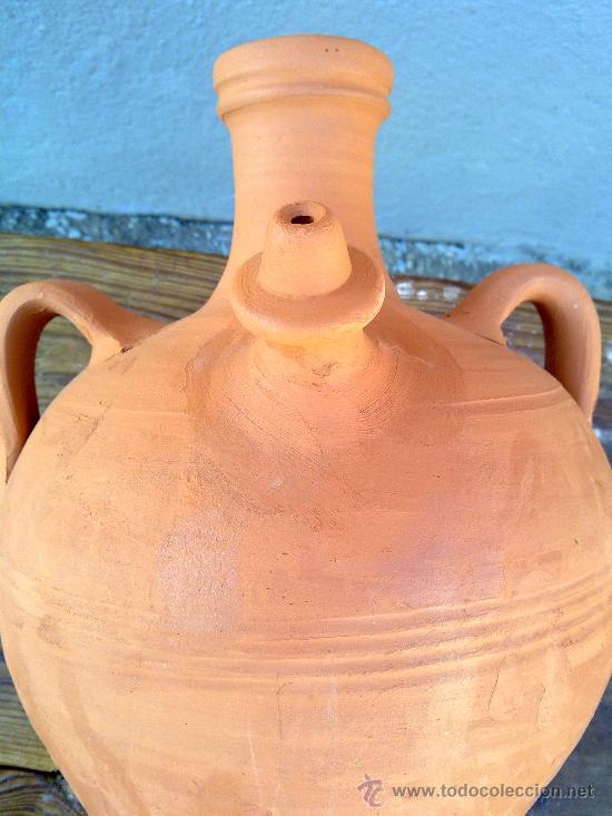 Antigüedades: precioso cantaro o botija de agua de barro. - Foto 4 - 30592422