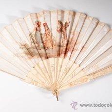 Antiquitäten - Abanico de seda con varillaje de hueso - escena galante, siglo XIX - 30599004