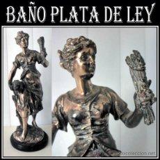 Antigüedades: GRAN FIGURA DAMA 47CM * BAÑO PLATA * PLATEADO DE LEY * BASE DE MARMOL * FABRICADA EN ESPAÑA * FIRMA. Lote 30602808