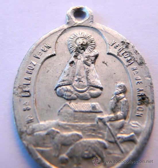 MEDALLA ANTIGUA EN ALUMINIO - NUESTRA SEÑORA DE LA HOZ , VENTOSA, ARAGON (Antigüedades - Religiosas - Medallas Antiguas)
