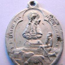 Antigüedades: MEDALLA ANTIGUA EN ALUMINIO - NUESTRA SEÑORA DE LA HOZ , VENTOSA, ARAGON. Lote 48371980