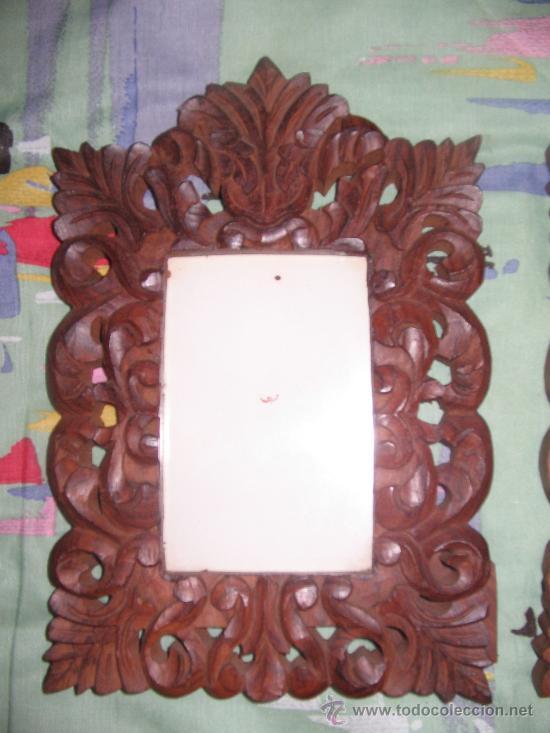 Antigüedades: Portafotos de Madera Labrada - Foto 2 - 30609279