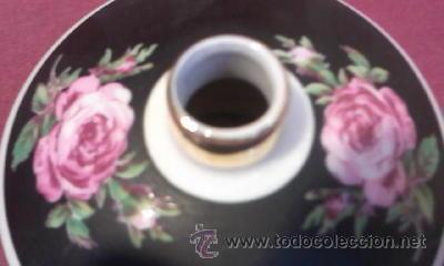 Antigüedades: Perfumador de porcelana,decorado con rosas,negro mate y filos de oro.Bavaria western germany. - Foto 3 - 30631741