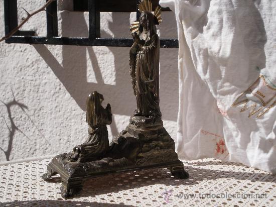 Antigüedades: ANTIGUO CONJUNTO ADORACIÓN A LA VIRGEN , ( MUSICAL A CUERDA ) TOTALMENTE METALICA . DESCONOZCO AÑO . - Foto 2 - 30644793