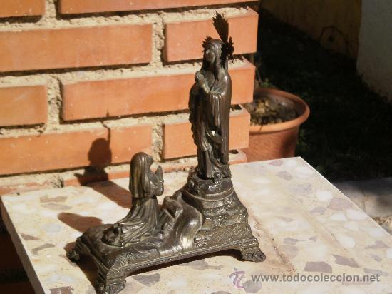 Antigüedades: ANTIGUO CONJUNTO ADORACIÓN A LA VIRGEN , ( MUSICAL A CUERDA ) TOTALMENTE METALICA . DESCONOZCO AÑO . - Foto 9 - 30644793