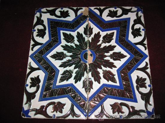 LOTE 2 AZULEJOS REFLEJOS METALICOS - TECNICA DE ARISTA - TRIANA - MENSAQUE .PPOS. S/XX. (Antigüedades - Porcelanas y Cerámicas - Triana)