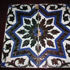 Antigüedades: LOTE 2 AZULEJOS DE REFLEJOS METALICOS - TECNICA DE ARISTA - TRIANA - MENSAQUE .PPOS. S/XX. AZULEJO.. Lote 30650210