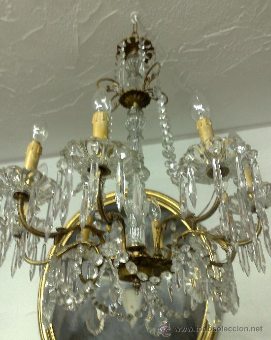 Antigua lampara de techo en cristal y bronce comprar - Lamparas cristal antiguas ...