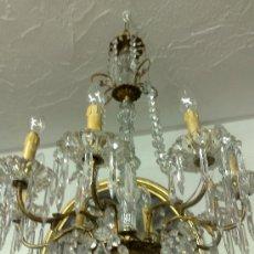 Antigüedades: ANTIGUA LAMPARA DE TECHO EN CRISTAL Y BRONCE.. Lote 30670095