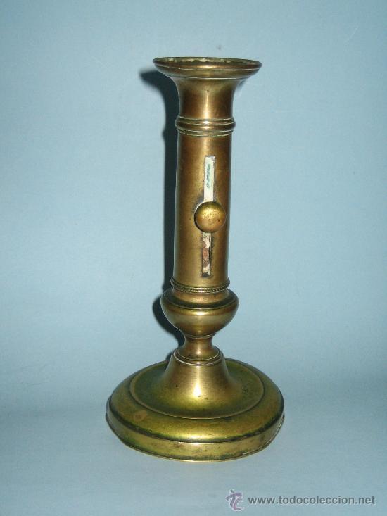 PORTAVELAS CANDELABRO EN BRONCE SIGLO XIX (Antigüedades - Iluminación - Candelabros Antiguos)