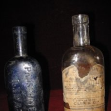 Antigüedades: LOTE DOS FRASCOS ANTIGUOS DE CRISTAL, DE MEDICAMENTOS. Lote 30675680