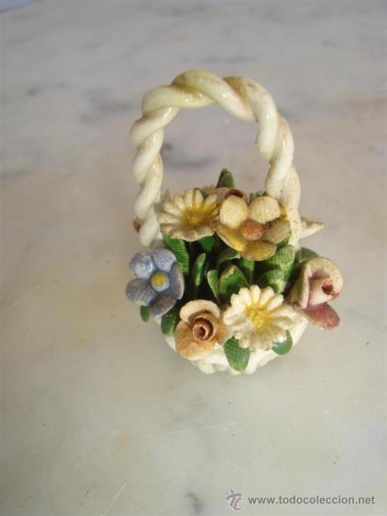 Antigüedades: figura de ceramica cesto de flores - Foto 2 - 30688800