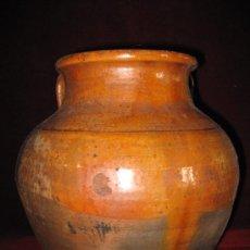 Antigüedades: ORZA O PUCHERO ANTIGUO DE BARRO VIDRIADO.. Lote 30689510