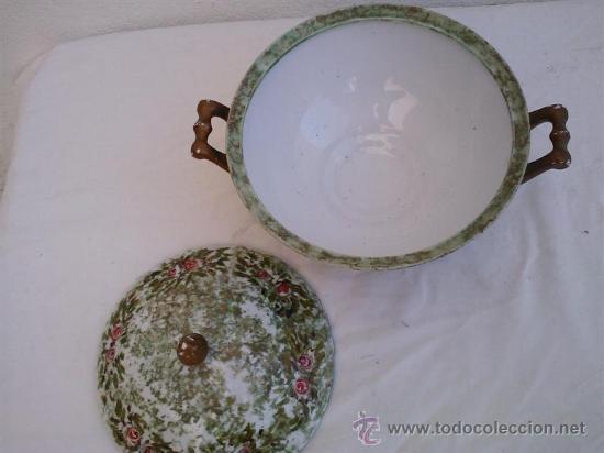Antigüedades: sopera pintado a mano - Foto 2 - 30693855
