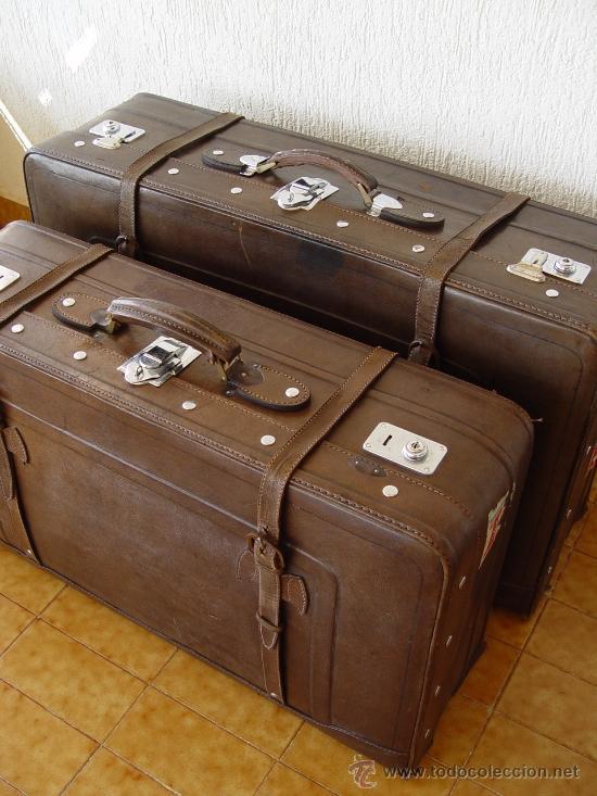Juego de dos maletas antiguas de piel marca gol comprar for Maletas antiguas online