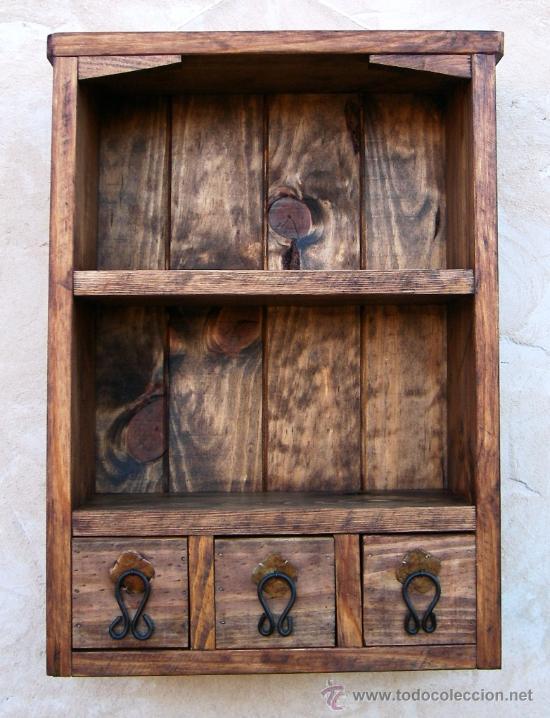 Mueble especiero con 3 cajones y baldas de made comprar aparadores antiguos en todocoleccion - Baldas de madera ...