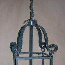 Antigüedades: ANTIGUA LAMPARA HIERRO FORJA. Lote 30745355