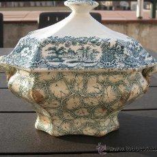 Antigüedades: CA. 1860. RARA SOPERA PICKMAN, JASPEADA, COLOR VERDE. Lote 30762712