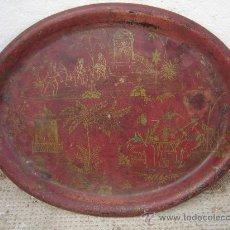 Antigüedades: ANTIGUA BANDEJA OVALADA AÑOS 20-30. DE METAL. MOTIVO ORIENTAL.. Lote 30762942