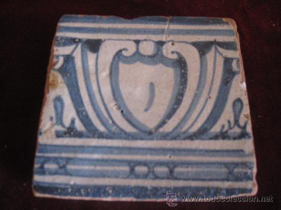 AZULEJO TOLEDO/TALAVERA, TECNICA PINTADA LISA, RENACIMIENTO SIGLO XVI (Antigüedades - Porcelanas y Cerámicas - Talavera)