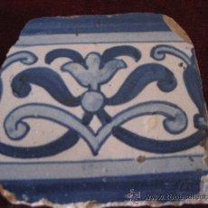 Antigüedades: AZULEJO DE PORTUGAL. TECNICA PINTADA LISA . SIGLO XVII - XVIII.. Lote 30787248