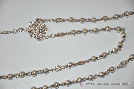 Antigüedades: antiguo rosario de plata - Foto 2 - 30910858