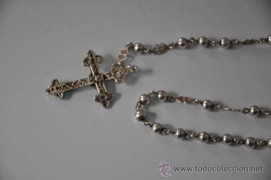 Antigüedades: antiguo rosario de plata - Foto 5 - 30910858