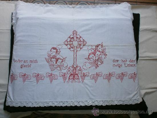 Mantel Para Altar Bordado A Mano Con Angeles Mo Comprar Articulos - Manteles-para-bordar