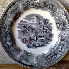 Antigüedades: ANTIGUO PLATO DE CARTAGENA, FABRICA LA AMISTAD DE CARTAGENA, CON ESCENAS DE LA CAZA DEL CIERVO .. Lote 30822552