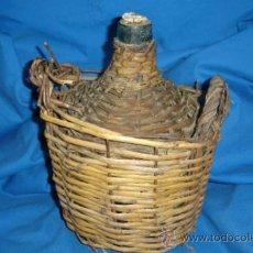 Antigüedades: -DAMAJUANA/ GARRAFA DE CRISTAL MARCA VIRESA CON PROTECCIÓN ARTESANAL DE 5 LITROS. Lote 30976011