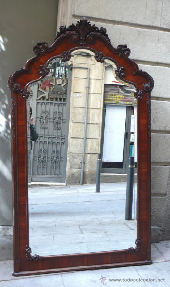 Antigüedades: Gran espejo de madera, 1940s. 203 cm alto x 117 cm ancho. - Foto 2 - 30894433