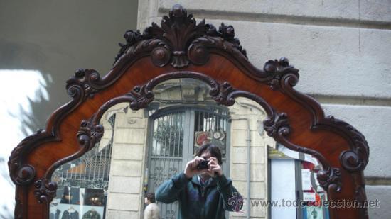 Antigüedades: Gran espejo de madera, 1940s. 203 cm alto x 117 cm ancho. - Foto 3 - 30894433