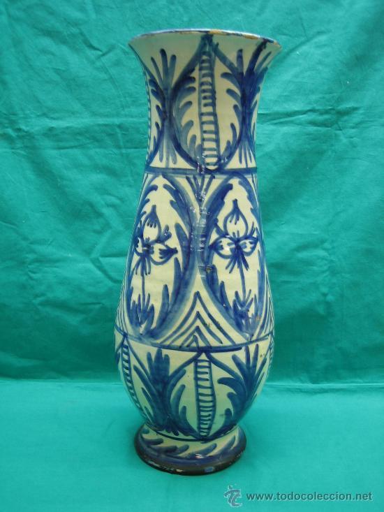 Antigüedades: Jarron decorado a mano antiguo . Altura 44, 15´5 de diametro - Foto 2 - 30837650