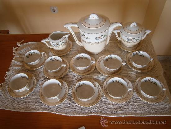 PRECIOSO JUEGO DE CAFE-TE. OCHIES - MOULIN DES LOUPS. LISTO PARA USAR (Antigüedades - Porcelana y Cerámica - Francesa - Limoges)