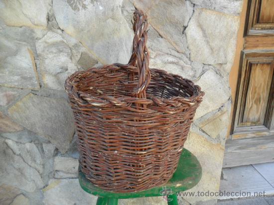 Antigüedades: CESTA DE MIMBRE CON ASA - ANTIGUA - Foto 2 - 30859987