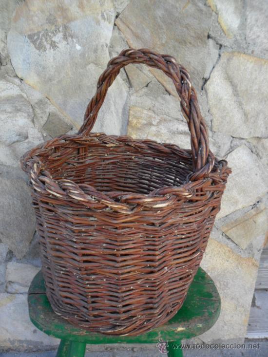 Antigüedades: CESTA DE MIMBRE CON ASA - ANTIGUA - Foto 3 - 30859987