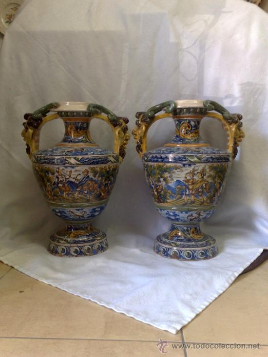 Antigüedades: EXCELENTE PAREJA DE GRANDES JARRONES EN CERÁMICA TALAVERANA DE NIVEIRO S. XIX. - Foto 19 - 28227591