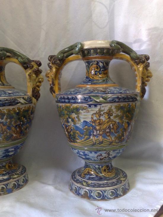 Antigüedades: EXCELENTE PAREJA DE GRANDES JARRONES EN CERÁMICA TALAVERANA DE NIVEIRO S. XIX. - Foto 7 - 28227591