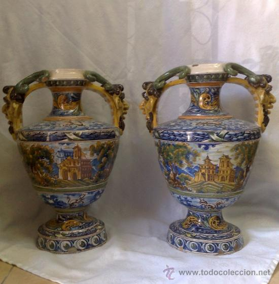 Antigüedades: EXCELENTE PAREJA DE GRANDES JARRONES EN CERÁMICA TALAVERANA DE NIVEIRO S. XIX. - Foto 8 - 28227591