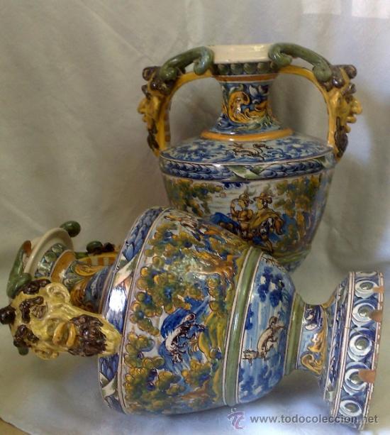 Antigüedades: EXCELENTE PAREJA DE GRANDES JARRONES EN CERÁMICA TALAVERANA DE NIVEIRO S. XIX. - Foto 21 - 28227591