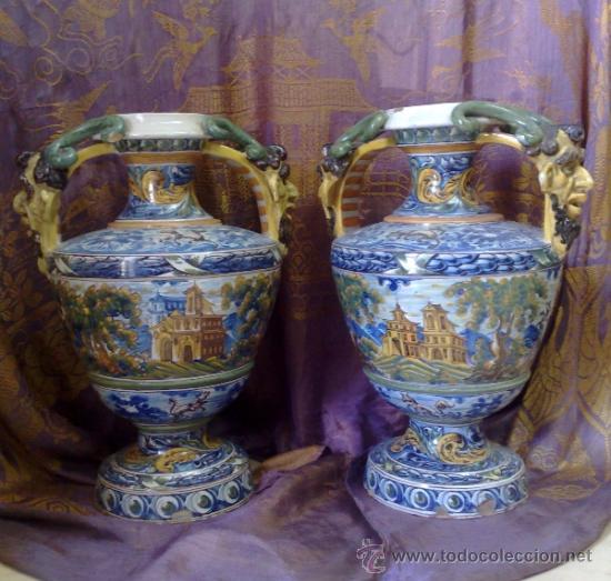 Antigüedades: EXCELENTE PAREJA DE GRANDES JARRONES EN CERÁMICA TALAVERANA DE NIVEIRO S. XIX. - Foto 4 - 28227591