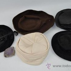 Antigüedades: LOTE DE 5 SOMBREROS DE SEÑORA ANTIGUOS. Lote 30894697