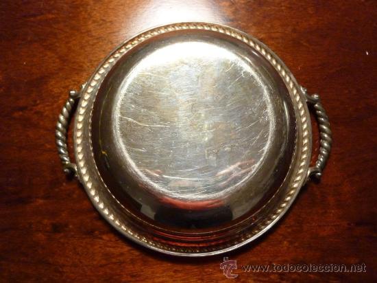 Antigüedades: PLATO CUENCO CON ASAS. PLATA DE LEY. MARCA J.PEREZ. 220 gr. - Foto 5 - 84725286