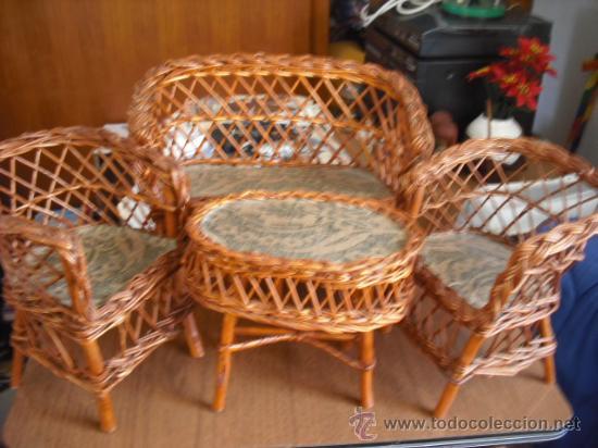 Juego de tresillo y mesa artesania de mimbre a comprar for Muebles el tresillo