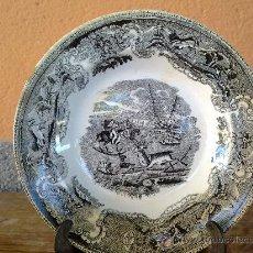 Antigüedades: ANTIGUO PLATO DE CARTAGENA CAZA DEL CIERVO. FAMOSA Y DESAPARECIDA FABRICA LA AMISTAD.. Lote 30916273